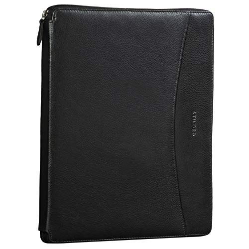 STILORD 'Dexter' Portadocumentos Cuero Bolsa Portátil 13,3' para MacBook Portafolios o Maletín Carpeta Conferencia Trabajo o Negocios Piel Auténtico, Color:obsidiana Negro