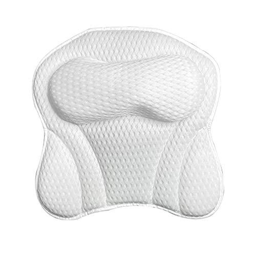Luxury Bath Pillow, Ergonomic Bathtub Spa Pillow with 4D Air Mesh Technology and 6 Suction Cupsfor tub neck and back support,Shoulder, Fits All Bathtub, Hot Tub and Home Spa