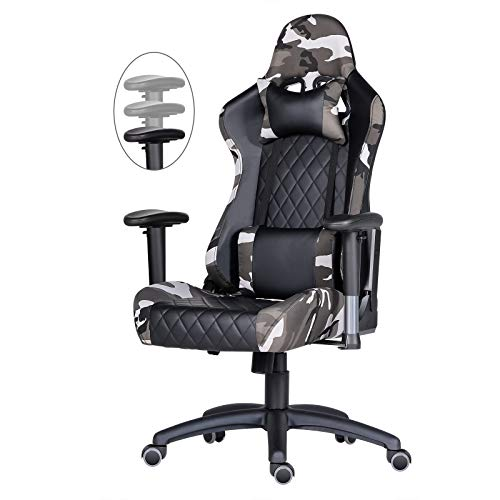 Gaming Chair Ergonomic Office Chair High Back Computer Chair PU Leather Desk Chair Armrest Height Adjustable Video Game Chairs Swivel Gamer Chair with Headrest Lumbar Pillow E-Sports Chair (Camo)
