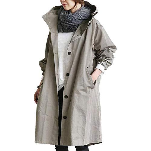 QIMANZI - Chaqueta cortavientos para mujer, resistente al agua, chaqueta ligera con capucha gris XXL
