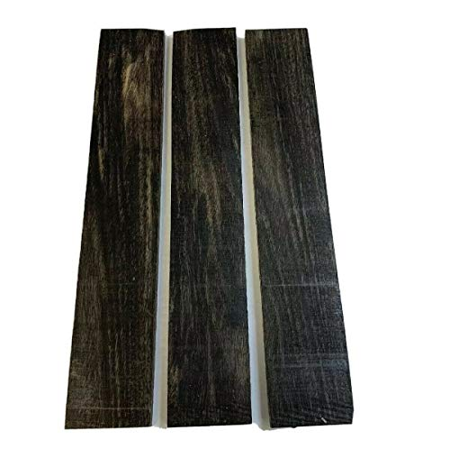 """Pack of 3 Exotic Gaboon Ebony Thin Lumber Board, Suitable Thin Stock Lumber for Wood Crafting and Wood Working Projects (1/4"""" x 2"""" x 12"""")"""