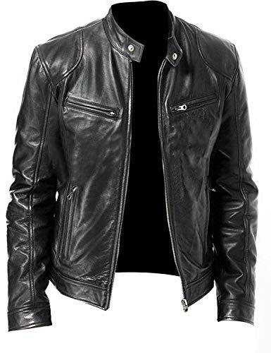 Chaqueta de motorista para hombre Cafe Racer Vintage Moto Classic Slim Fit cuero auténtico elegante chaqueta de cuero para hombre