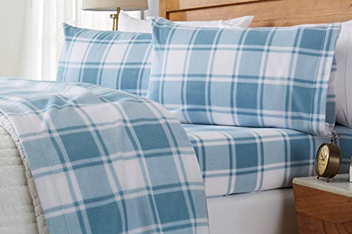 Great Bay Home Super Soft Extra Plush Plaid Fleece Sheet Set. Cozy, Warm, Durable, Smooth, Breathable Winter Sheets with Plaid Pattern. Dara Collection Brand. (Full, Stone Blue)