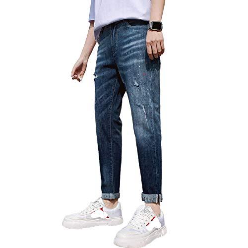 Pantalones Vaqueros para Hombre Verano Nuevo Regular-fit Slim-fit Trendy Jeans Moda Guapo Casual Estiramiento Personalidad Ripped All-Match Denim Pantalones de Nueve Puntos 36