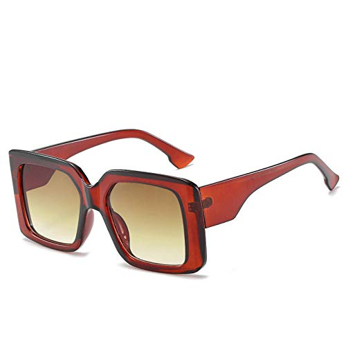 YHKF Gafas De Sol Cuadradas De Gran Tamaño para Mujer, Gafas De Sol Retro A La Moda para Hombre, Gafas con Montura Grande, Gafas Vintage Uv400-Tea
