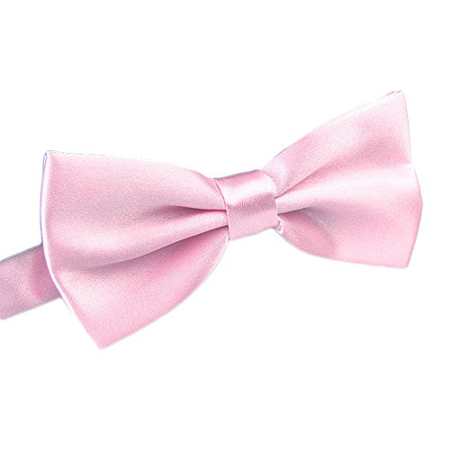 Men's Pre Tied Bow Ties for Wedding Party Fancy Plain Adjustable Bowties Necktie (Light Pink)