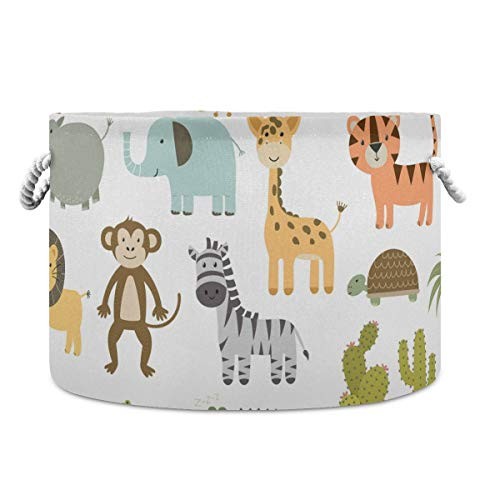 AJINGA Collapsible Round Storage Basket Fabric Toy Chest Organizer, Cute Safari Animals Giraffe Lion Hippo Crocodile Laundry Basket with drawstrings for Kids