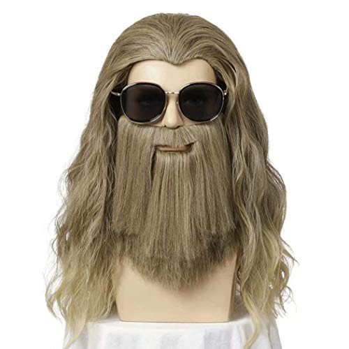 ATAYOU®Herren Lang Lockig Welle Blond Braun Perücke Halloween Cosplay Perücke Anime Thor Kostüm Party Perücke Enthalten Thor Bart