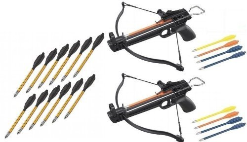 2 Pack 50 Lb Crossbow Gun Pistol Archery Crossbow w/ Arrows+12 Metal Tip Arrows