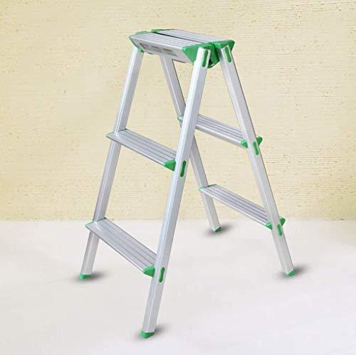 HUIQIN Folding ladder,Stepladders 3-Step Lightweight Anti-Slide Silver Steel Staircase Folding Ladder Multi-Purpose - Ladder Folding Ladder Light Multi-Purpose Ladder Ladders