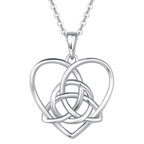 FANCIME Sterling Silver Irish Celtic Knot Love Heart Earrings/Pendant Necklace Small Earrings Triangle Vintage Dainty Fine Jewelry Set Gifts for Mom Women Teen Girls