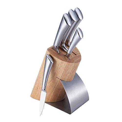 Begner Luxus Messerblock-Set mit Edelstahl-Messern mit mattierten Edelstahl-Griffen im Top Design BG-4205-MM