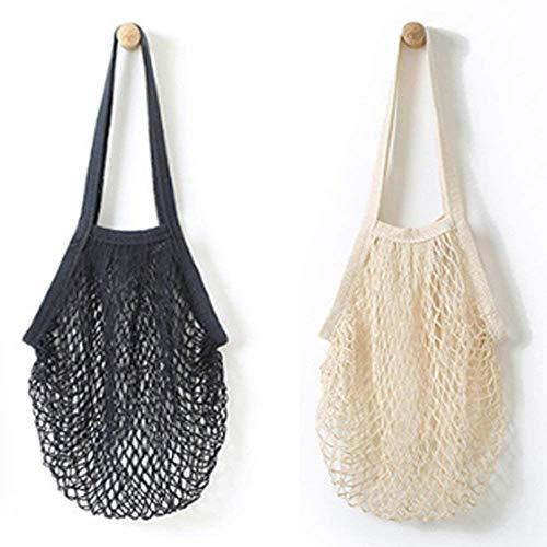 Baalaa Bolsa organizadora portátil de malla de algodón reutilizable de 2 piezas, bolsa de compras, bolsa de almacenamiento de frutas (negro, beige)