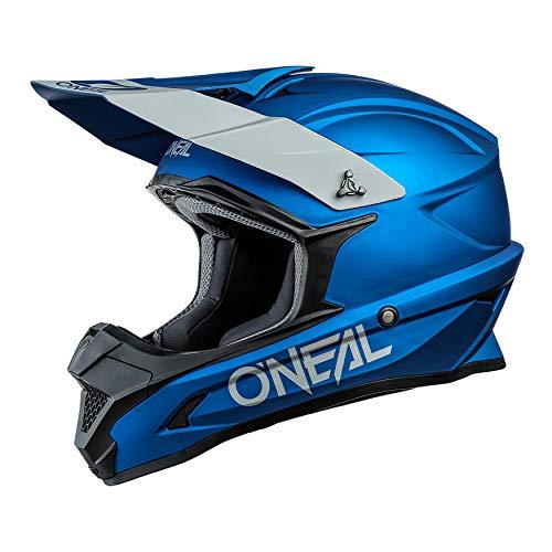 O'NEAL | Motocross-Helm | MX Enduro Motorrad | ABS-Schale, Sicherheitsnorm ECE 22.05, Lüftungsöffnungen für optimale Belüftung und Kühlung | 1SRS Helmet Solid | Erwachsene | Blau | Größe M