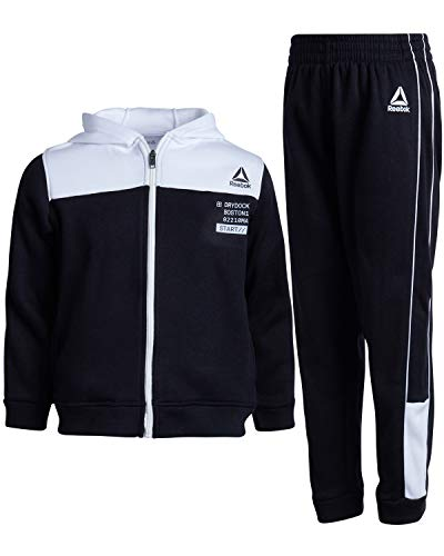 Reebok Boys' 2-Piece Athletic Fleece Tracksuit Set with Zip Up Jacket and Jog Pants (Toddler/Little/Big Boy), Black/White, Size 8'