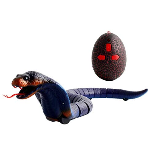 Remote Control Snake Toy Simulation Rechargeable RC Snake Toy Halloween Funny Toys Realistic Rattlesnake Snake Simulation Animal Toy Blue