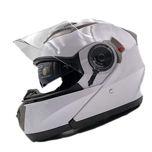 Nat Hut Casco Moto Modular ECE Homologado Casco de Moto Scooter para Mujer Hombre Adultos con Doble Visera (M 57-58cm, Blanco)