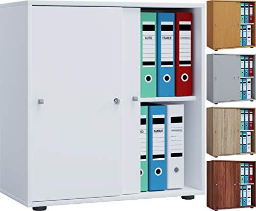 VCM Aktenregal Schrank Büromöbel Aktenschrank Büroregal Ordnerregal Lona 2-Fach Schiebetüren Weiß