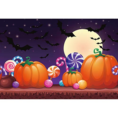 DaShan 10x8ft Horrible Halloween Backdrop Scary Ghost Graveyard Witch Wizard Sorcerer Theme Halloween Photography Background Pumpkin Lamp Misty Creepy Haunted Cemetery Halloween Photo Props