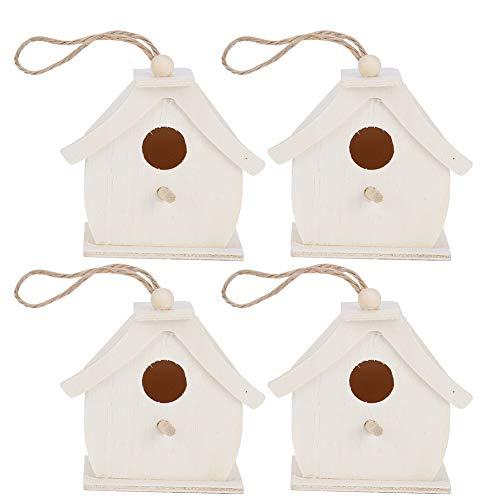 GAESHOW 4 Piezas Mini casa de pájaros de Madera Colgantes nidos de pájaros Adornos para jardín al Aire Libre balcón Patio casa para pájaros al Aire Libre decoración del hogar