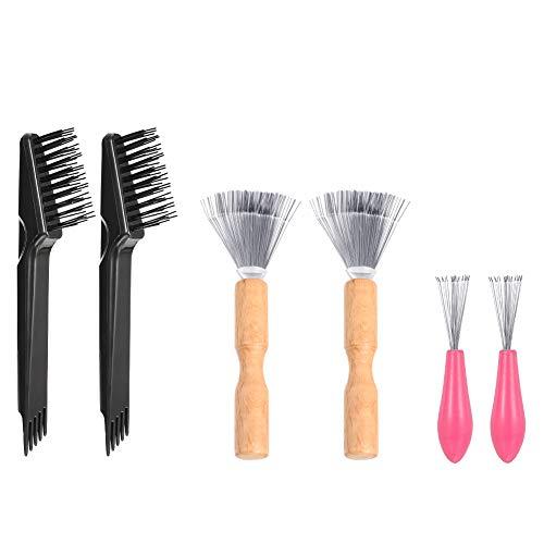 hugttt 6 Stück Haarbürste Reiniger Haarbürste Reinigungswerkzeug Kamm Reinigungsbürste Mini Haarbürste Entferner Werkzeug Kamm Reiniger Bürste zum Entfernen von Haarstaub