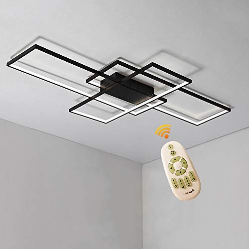 BEHWU LED Plafondlamp Rechthoekig,Wit, Zwart, 90Cm(70 W),110Cm(85 W), 140Cm(105 W), LED Plafondlamp,Aluminium + Silicagel Geschikt For Slaapkamer, Eetkamer, Keuken, Woonkamer