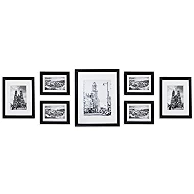 Golden State Art Wall Frames Collection, Black Wood Frame Set for Pictures/Photos, 7 Frames