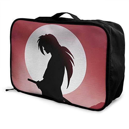 Rurouni Kenshin bolsa de equipaje portátil ligero de gran capacidad impermeable negro moda vacaciones viajes hombres mujeres