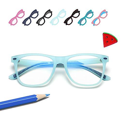 Penbea Kids Blue Light Blocking Glasses - Blue Light Glasses for Kids Girls Boys Age 7-12, Fake Glasses Anti Bluelight Glasses for Kids - Baby Blue