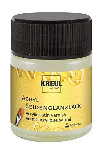 Kreul 79407 - Acryl Seidenglanzlack auf Kunstharzbasis, Schutz- und Überzugslack für durchgetrocknete Aufmalungen, für Innen und Außen geeignet, 50 ml Glas, seidenglänzend transparent