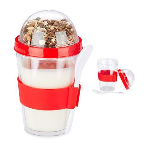 Relaxdays Pack de 2 Porta Yogur y Cereales, Vaso Portayogurt Cuchara para Llevar, Poliestireno, 400 ml, 16 x 8 cm, Rojo