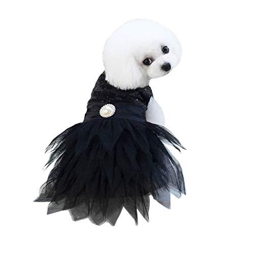 Xmiral Tutu Abiti per Cani di Piccola Taglia Vestiti Animale Domestico Cucciolo Camicia Piccolo Cane Gonna Maglietta Tutu T-Shirt Top Vestito da Principessa per Cane Abito da Sposa L Nero