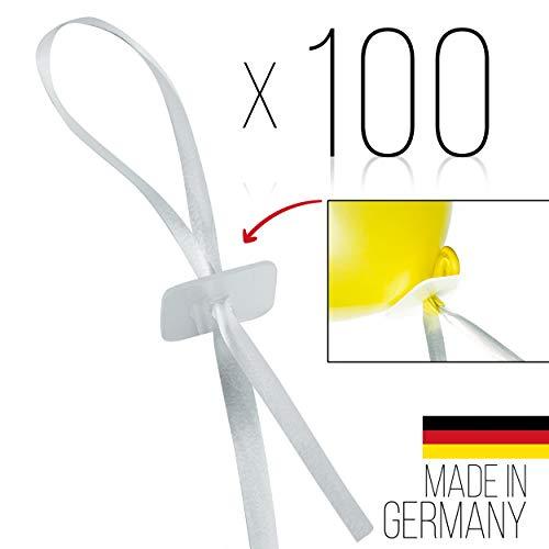 freshkeychain 100 Premium Ballonverschlüsse in edel-weiß - Luftballonband mit Schnellverschluss - luftdichte Luftballonverschlüsse - Helium Luftballonband Made in Germany