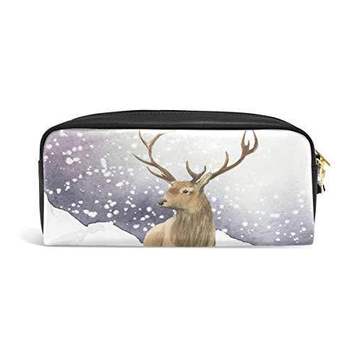 Bolsa de maquillaje con cremallera para adolescentes con diseño de ciervos y animales, para escribir en la escuela, piel sintética con compartimentos