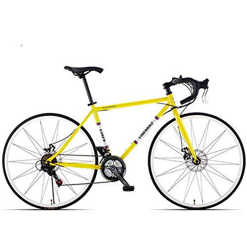 21-Gang-Rennrad, Herren-Rennrad mit hohem Kohlenstoffgehalt, 700C-Räder City Commuter-Fahrrad mit Doppelscheibenbremse, gelb, gebogener Griff
