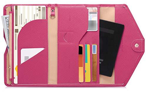 Zoppen Multi-Purpose RFID Blocco Passport Wallet (Ver.4Organizer) rosso Rose Red