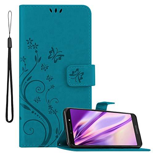 Cadorabo Hülle für Motorola Moto E5 Plus in FLORAL BLAU – Handyhülle im Blumen Design mit Magnetverschluss, Standfunktion & 3 Kartenfächern – Hülle Cover Schutzhülle Etui Tasche Book Klapp Style