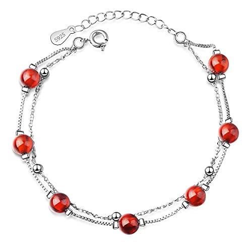 NDASNDIASND Pulsera de Plata 925 a la Moda para Mujer, joyería Femenina, Bonita Pulsera de Bola de Cristal roja, Regalo de San Valentín para Mujer