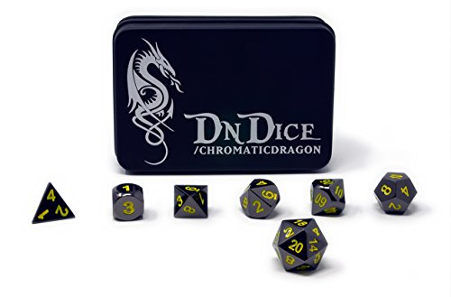 DnDice Chromatic Dragon - Solid Metal Poly Dice Set by Available in Dark Chrome & Red, Green or Purple with Dragon Insignia Presentation Tin (Chromatic Dragon Yellow)