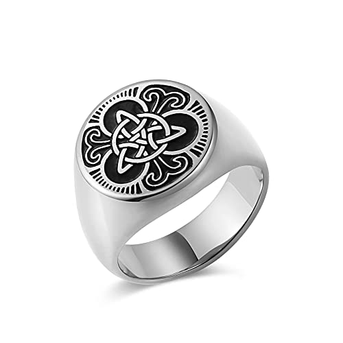 HZMAN Mens Triple Celtic Knot Signet Rings Round Vintage Stainless Steel Ring (Silver,11)