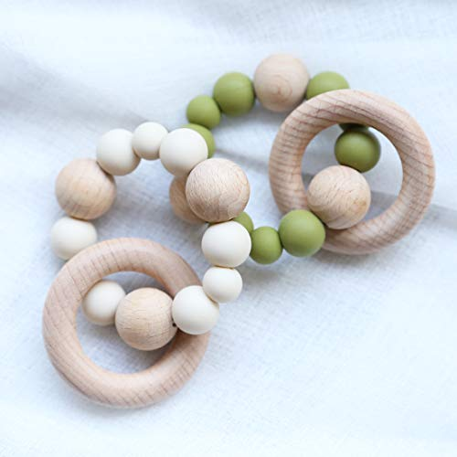 Infant Teething Rings Wooden Rattles Sensory Toys Retro Color Teether Bracelet 2pc Set