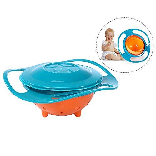 XLKJ Niedliche Drehbar Schüssel Gyro Bowl für Kinder Futternapf mit Deckel,Anti Verschütten