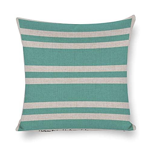 Funda de cojín de algodón y lino, fundas de almohada de color verde aguamarina y blanco a rayas para decoración del sofá del hogar, 45,7 x 45,7 cm