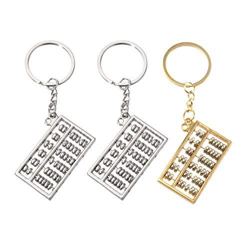NUOBESTY 3 llaveros de metal con diseño de abacus, para mujeres y hombres