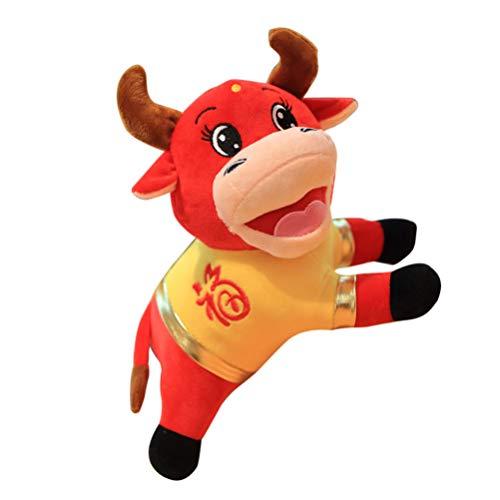 TOYANDONA Zodiaco Chino Año Buey Mascota Felpa Ganado Estatuillas Juguete de Peluche Vaca Roja Suerte Muñecas Año Nuevo Festival de Primavera Mascota Muñeca 15Cm
