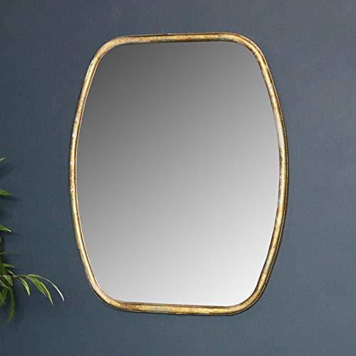 Melody Maison - Specchio da parete con cornice dorata, stile rustico