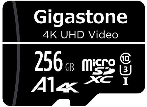 Gigastone Carte Mémoire 256 Go Compatible avec Gopro Caméra Drone Samsung Tablette, Haute Vitesse de Lecture 100 Mo/s idéal pour 4K UHD Vidéo, A1 C10 U3 Carte Micro SD avec Mini étui et Adaptateur SD