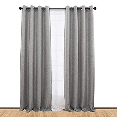 Linen Textured Moderate Blackout Curtains for Bedroom Room Darkening Window Drapes for Living Room Curtain (Single Panel, 84-Inch, Soft Gray)