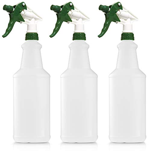 Empty Plastic Spray Bottle 32 Ounce, Professional Chemical Resistant with White-Green Sprayer for Chemical and Cleaning Solution, Heavy Duty, Adjustable Head Sprayer from Fine to Stream (Pack of 3)