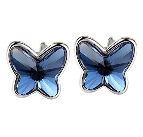 Pendientes Swarovski Mariposa para Mujer. Plata de Ley 925, Cristal Swarovski Elements Autentificado Color Azul Vaquero (Blue Denim). Caja con Corazón para Regalo